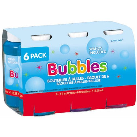 Bubbles 118ml & Wands Value Pack Assorted Colours - Pack of 6