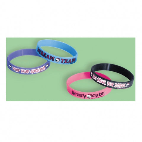 Monster High Rubber Bracelets Favors Assorted Designs - Pack of 4