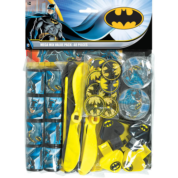 Batman Favor Pack 48 Piece 8 of each - Spinning Tops, Rulers, Maze Puzzles, Whirl-a-copters, Prism Viewers, Whistles - Each