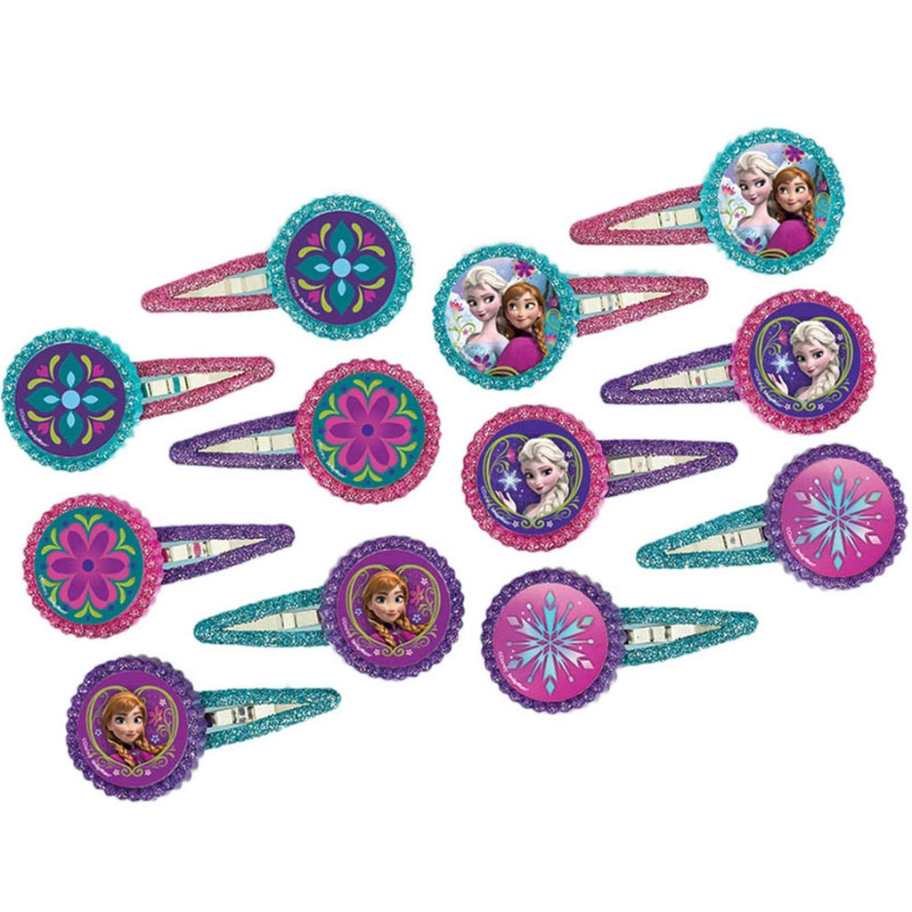 Frozen Hair Clips Favors Assorted Designs Glittered - Pack of 12