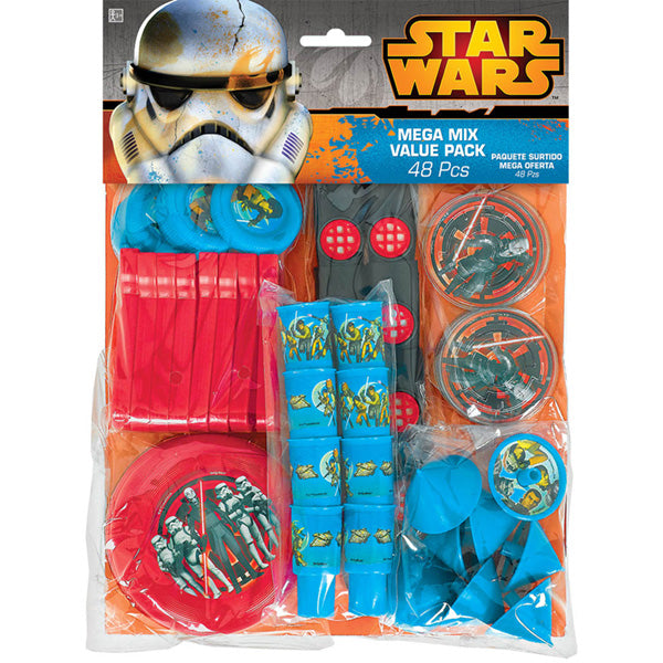 Star Wars Rebels Favors Mega Mix Value Pack 8 x Mini Tops, Maze Puzzles, Disc Shooters, Flying Discs, Whistles & Kazoos - Each