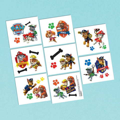 Paw Patrol Tattoos 1 Perforated Sheet - 16 Tattoos - Each
