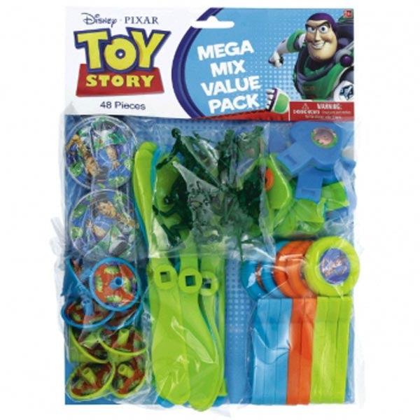 Toy Story 3 Favor Mega Mix Value Favor Pack 48 pieces (8 x Army Men, Whistles, Whirl-a-Copters, Mini Tops, Maze Puzzles, Disc Shooters) - Each