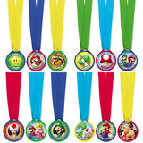 Super Mario Brothers Mini Award Medals Assorted Designs Plastic Discs & Fabric Ribbon - Pack of 12