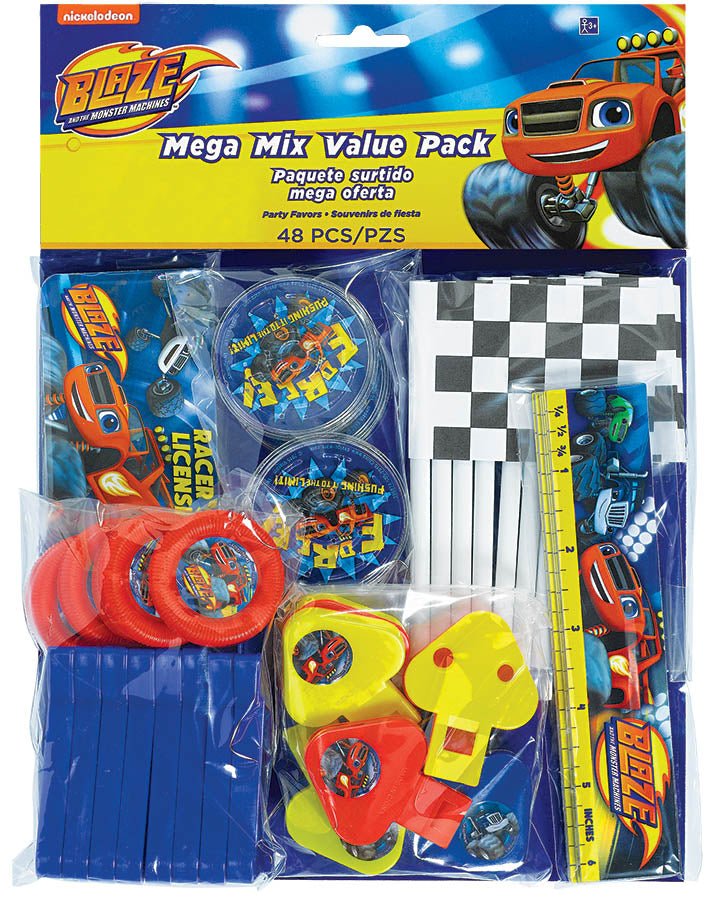 Blaze & The Monster Machines Mega Mix Value Pack 48 Pieces - 8 x Puzzles, 8 x Disc Shooters, 8 x Checkered Flags, 8 x Rulers, 8 x Whistles & 8 x ID Cards - Each