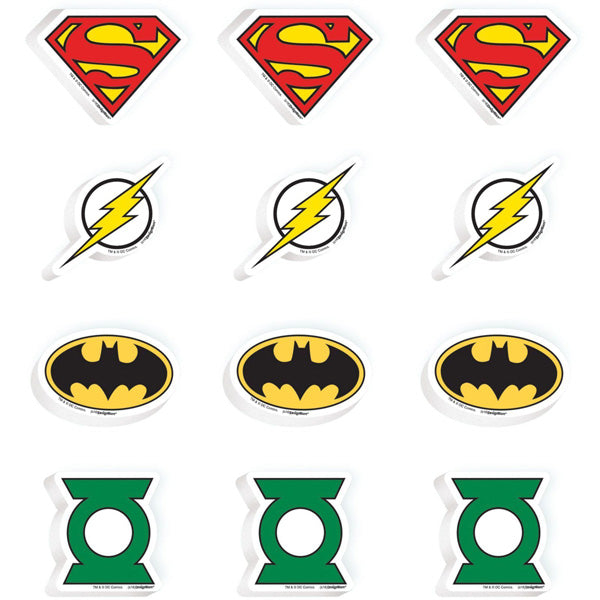 Justice League Erasers Favors Value Pack Assorted Designs - Pack of 12