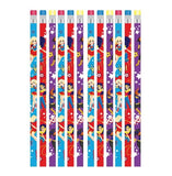 Super Hero Girls Pencils & Eraser End Assorted Designs - Pack of 12