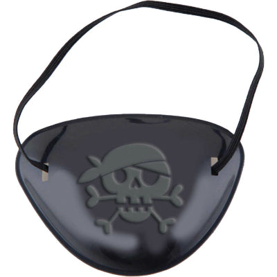 Little Pirate Eye Patch Favors Black Plastic & Elasticated Straps - Pack of 12