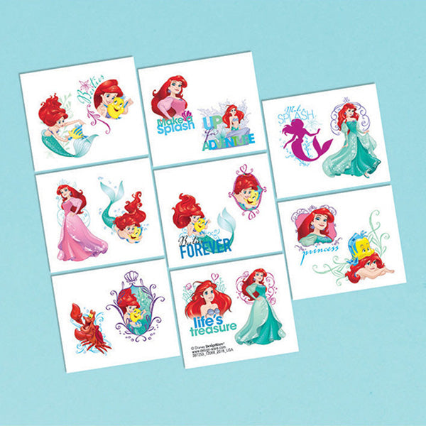 Ariel Dream Big Tattoos Little Mermaid Assorted Designs 1 x Perforated Sheet - 16 Tattoos - Each