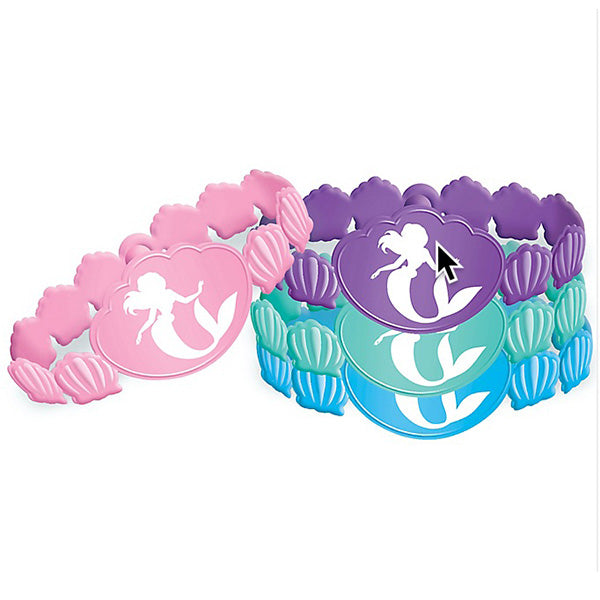 Ariel Dream Big Rubber Bracelets Little Mermaid Assorted Designs - Pack of 6