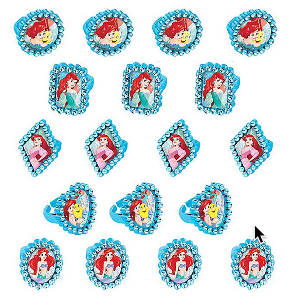 Ariel Dream Big Jewel Rings Little Mermaid Assorted Designs - Pack of 18
