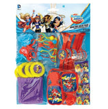 Super Hero Girls Mega Mix Favors Value Pack 48 Pieces - 8 x Sketch Pads, 8 x Brushes, 8 x Clackers, 8 x Disc Shooters, 8 x Puzzle Watches & 8 x Rings - Each