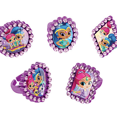 Shimmer & Shine Jewel Rings Favors  Adjustable Child Size Assorted Designs - Pack of 18