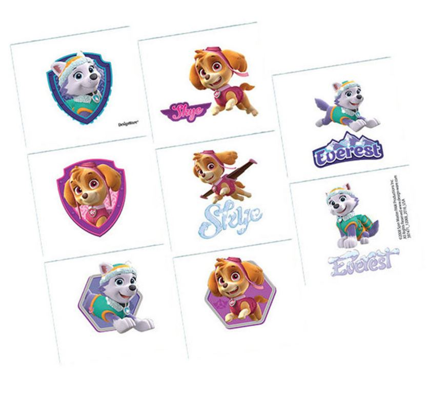 Paw Patrol Girls Tattoos Assorted Designs 1 Perforated Sheet - 8 Tattoos - Each