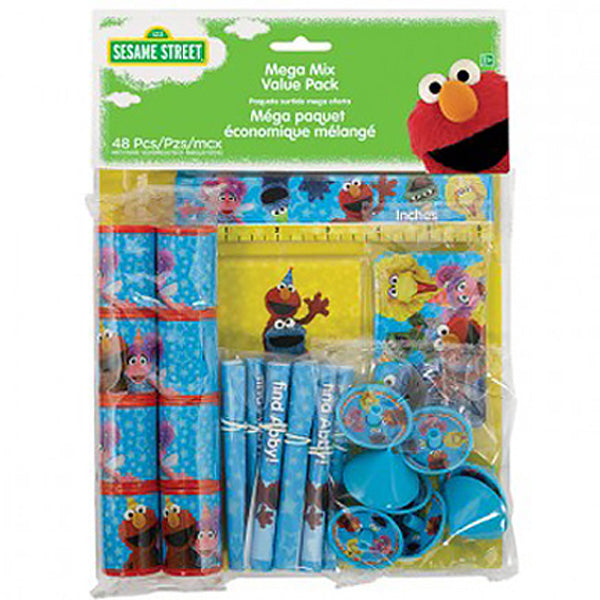 Sesame Street Mega Mix Favors Value Pack 48 Pieces 8 x Prism Viewers, 8 x Rulers, 8 x Mini Tops, 8 x Stickers, 8 x Maps & Activity Sheets - Each