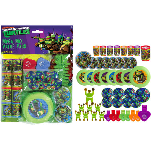 Teenage Mutant Ninja Turtles Favor Pack, Contains 8 x Whistles, 8 x Prism Viewers, 8 x Flying Discs, 8 x Wall Climbers, 8 x Tops & 8 x Maze Puzzles - Each