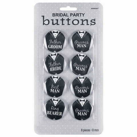Bridal Party Buttons Assorted - Groom