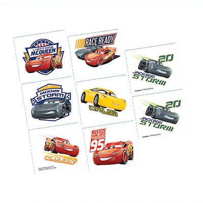 Cars 3 Tattoos Assorted Designs 1 Perforated Sheet - 8 Tattoo's - Each