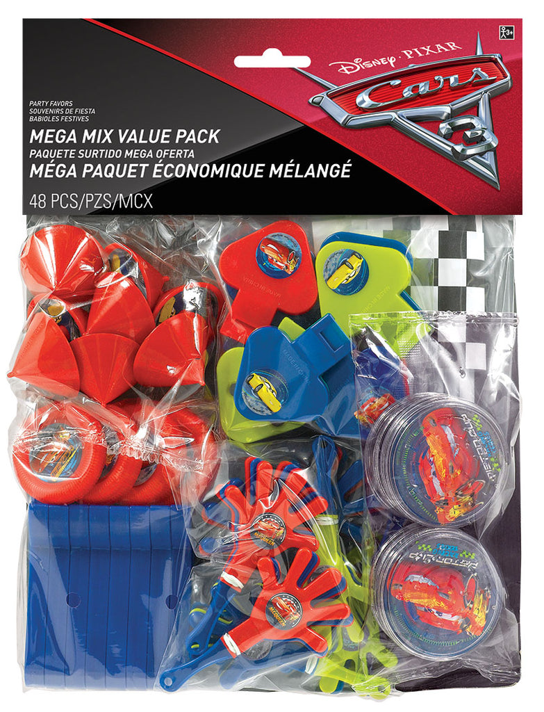 Cars 3 Mega Mix Favors Value Pack 48 Pieces 8 of each of - Maze Puzzles, Mini Tops, Whistles, Disc Shooters, Flags & Hand Clappers - Each
