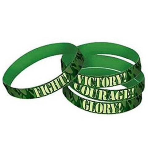 Camouflage Bracelets Favors Rubber Assorted Designs - Pack of 4