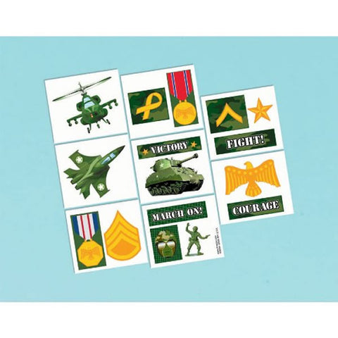 Camouflage Tattoos Assorted Designs (16 Tattoos per pack) 1 Perforated Sheet - Each