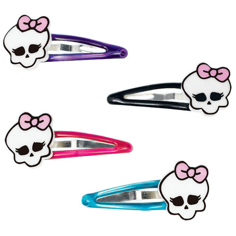 Monster High Hair Clips with Skulls Plastic - Pack of 4