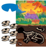 Prehistoric Dinosaurs Party Game 1 x Plastic Poster, 12 x Stickers & 1 Paper Blindfold - Each