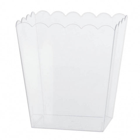 Scalloped Container Medium Plastic 15cm - Clear (Candy Buffet) - Each