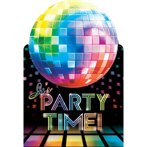 Disco Fever Post Card Invitations (8 x Invites, 8 x Envelopes, 8 x Seals & 8 Save the Date Stickers) - Pack of 8