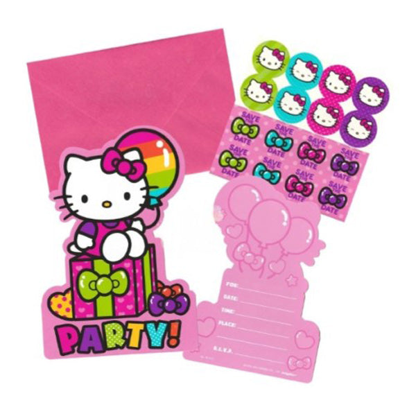 Hello Kitty Rainbow Invitations Includes Envelopes, Seals & Save the Date Stickers - Pack of 8