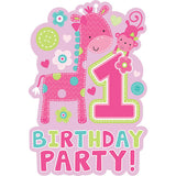 One Wild Girl Invitations 1st Birthday Party! 8 x Invites, 8 x Pink Envelopes & 8 x Save the Date Stickers - Pack of 8