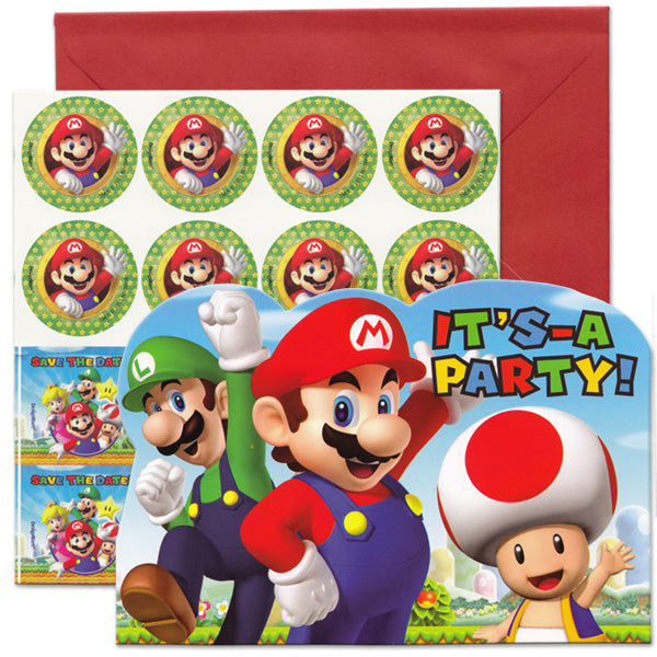 Super Mario Brothers Invitations It's a Party Includes Invitations, Red Envelopes, Seals & Save the Date Stickers - Pack of 8