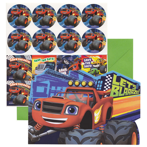 Blaze & The Monster Machines Invitations & Envelopes - Includes 8 x Save the Date Stickers - Pack of 8