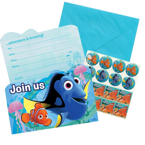 Finding Dory Invitations & Envelopes Includes 8 x Seals & 8 x Save the Date Stickers - Pack of 8