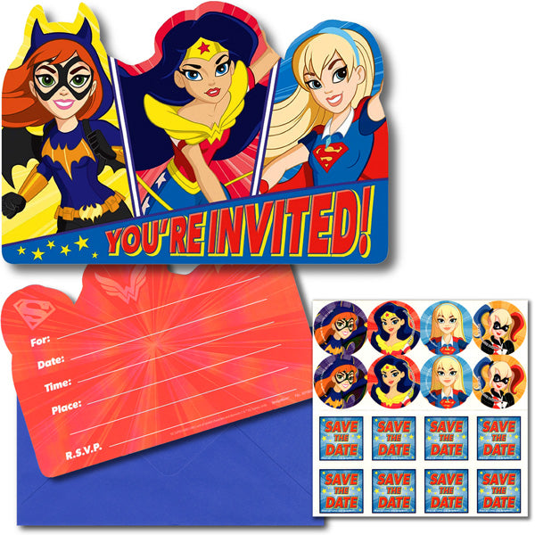 Super Hero Girls Invitations You're Invited Includes Envelopes & Save the Date Stickers - Pack of 8