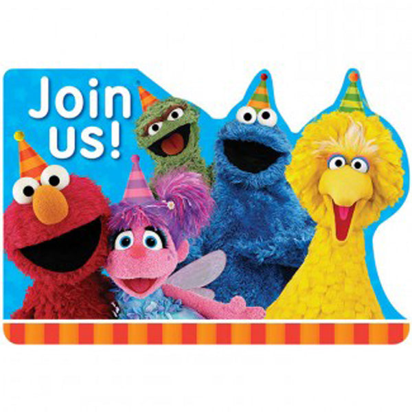 Sesame Street Invitations Join Us Includes Envelopes, Seals & Save the Date Stickers - Pack of 8