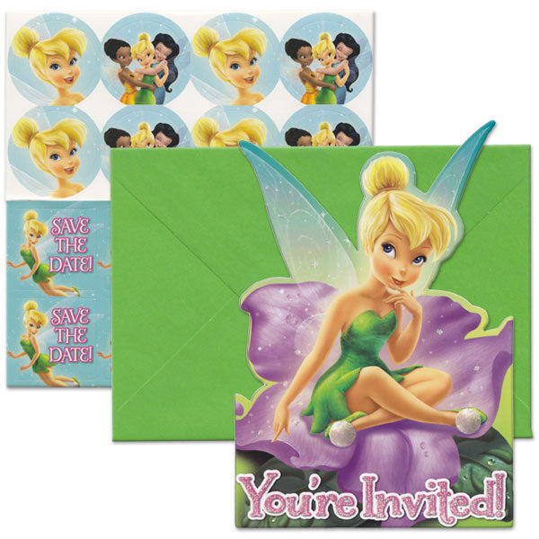 Tinker Bell Invitations & Best Friends Fairies 8 x Invites, 8 x Save the Date Stickers, 8 x Envelopes & 8 x Seals - Pack of 8