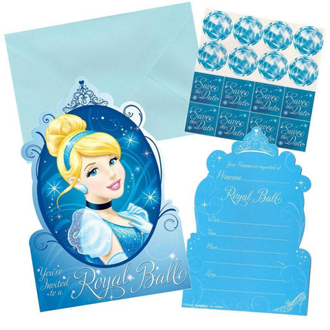 Cinderella Invitations Includes: 8 Postcard Invitations, 8 Envelopes, 8 Seals & 8 Save The Date Stickers (Cardboard) - Pack of 8