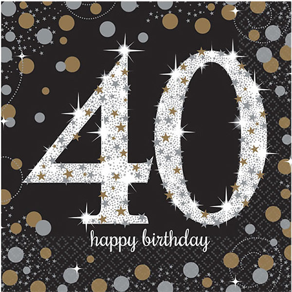 Sparkling Black 40th Birthday Lunch Napkins Black, Gold & Silver 33cm x 33cm 2 Ply - Pack of 16