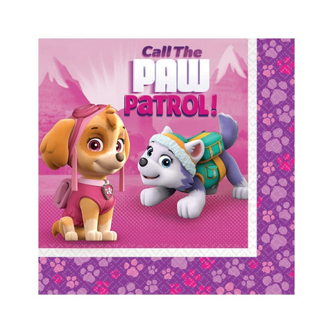 Paw Patrol Girls Luncheon Napkins 33cm x 33cm 2 Ply - Pack of 16