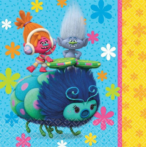 Trolls Luncheon Napkins 2 Sided Design 33cm x 33cm 2 Ply - Pack of 16
