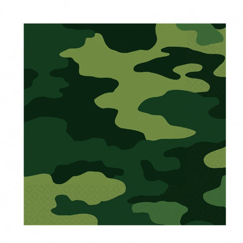 Camouflage Luncheon Napkins 33cm x 33cm - 2 Ply - Pack of 16