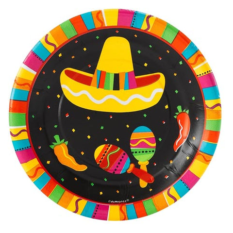 Plates Fiesta Fun, 17.7cm Luncheon Size Paper - Pack of 8