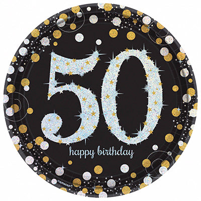 Sparkling Black 50 Happy Birthday Dinner Plates Black, Gold & Silver Prismatic 23cm - Pack of 8