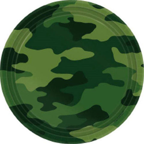 Camouflage Dinner Plates Paper 23cm - Pack of 8