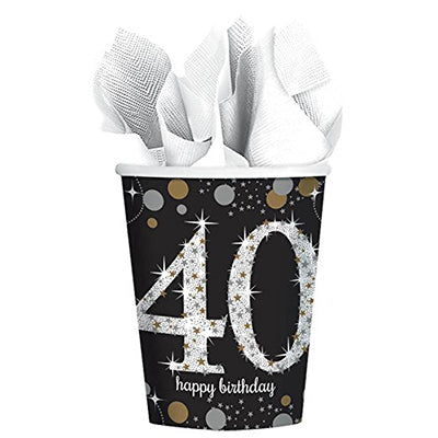 Sparkling Black 40 Happy Birthday Cups Paper Black, Gold & Silver Prismatic 266ml - Pack of 8