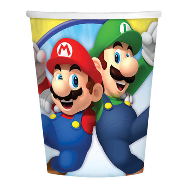 Super Mario Brothers Cups Paper 266ml  - Pack of 8