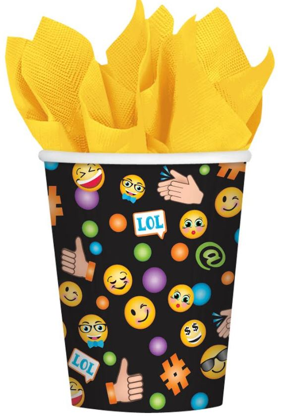 LOL Emoji Cups Paper 266ml Smiley Faces  - Pack of 8