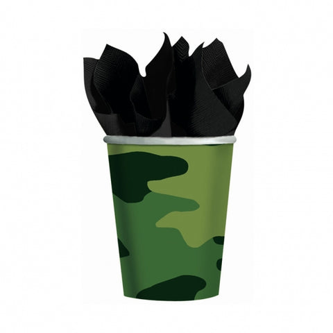 Camouflage Cups Paper 266ml - Pack of 8