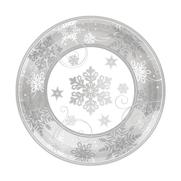 Sparkling Snowflakes Dinner Plates Silver & White 30.5cm Paper - Pack of 8